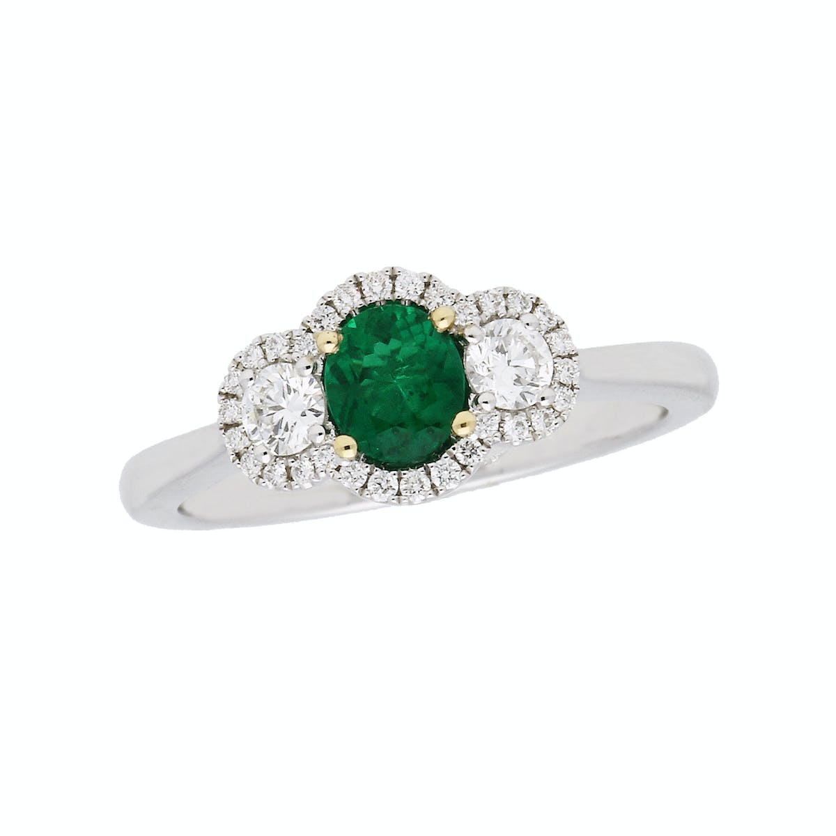 da3b53b56 18ct white gold emerald and diamond cluster ring. 1210313 A. Rings |  Cocktail Rings